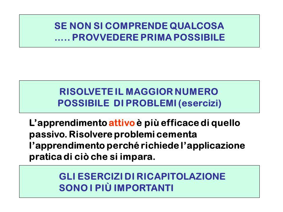 RISOLVETE IL MAGGIOR NUMERO POSSIBILE DI PROBLEMI (esercizi)