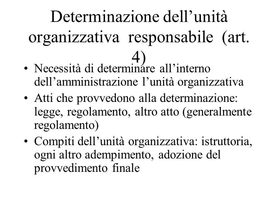 Determinazione dell'unità organizzativa responsabile (art. 4)