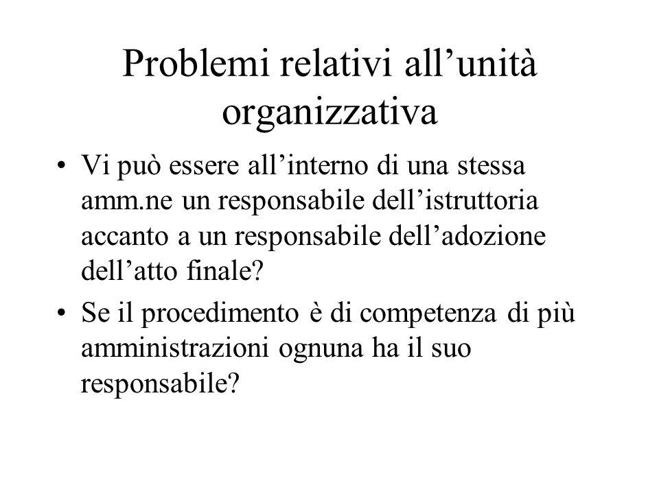 Problemi relativi all'unità organizzativa