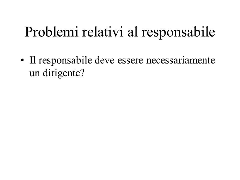 Problemi relativi al responsabile