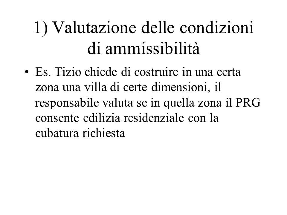 1) Valutazione delle condizioni di ammissibilità