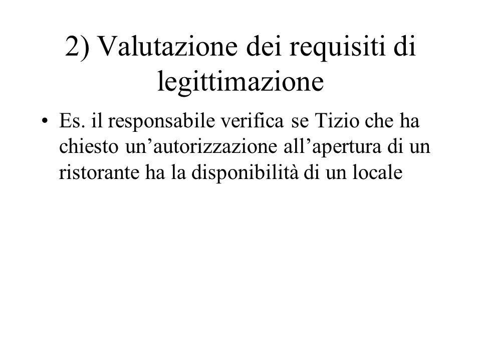 2) Valutazione dei requisiti di legittimazione