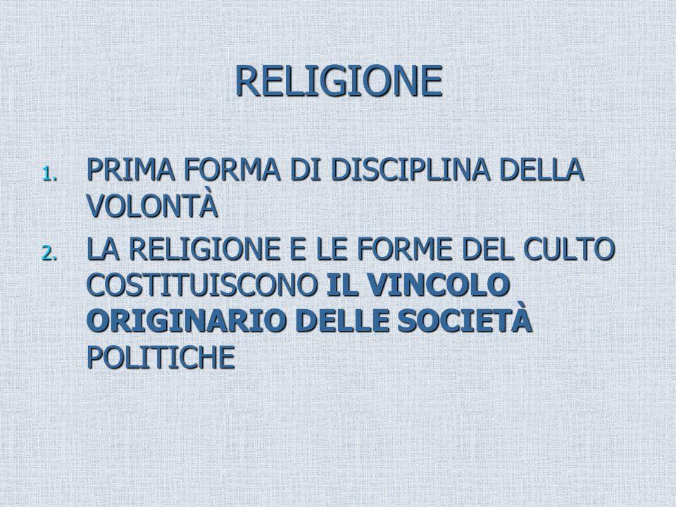 RELIGIONE PRIMA FORMA DI DISCIPLINA DELLA VOLONTÀ