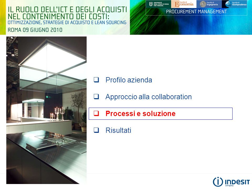 Profilo azienda Approccio alla collaboration Processi e soluzione Risultati