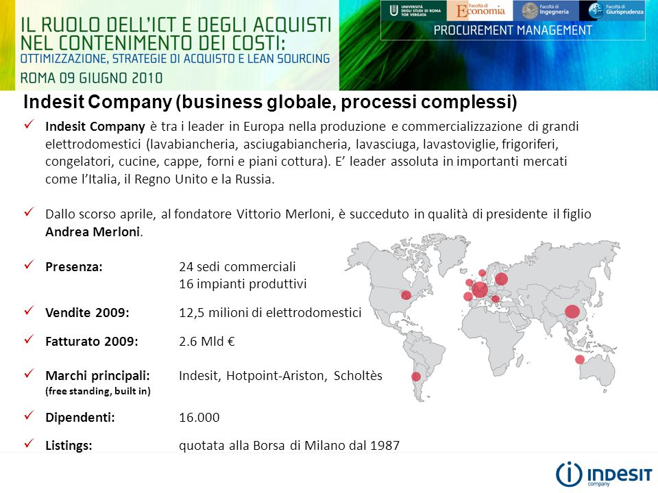 Indesit Company (business globale, processi complessi)