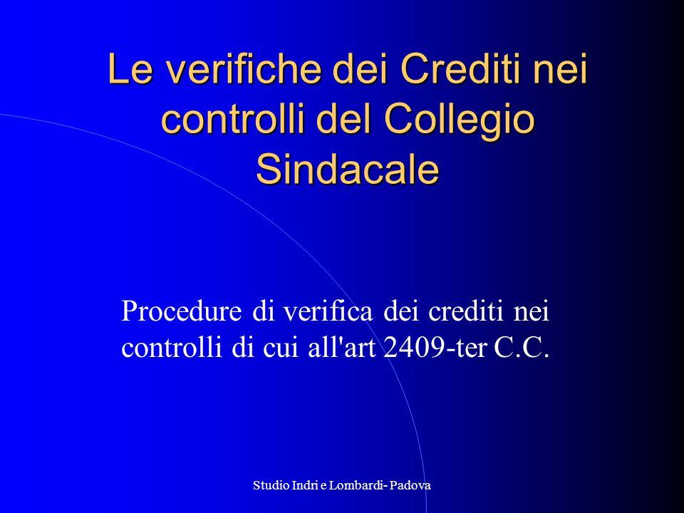 Le verifiche dei Crediti nei controlli del Collegio Sindacale