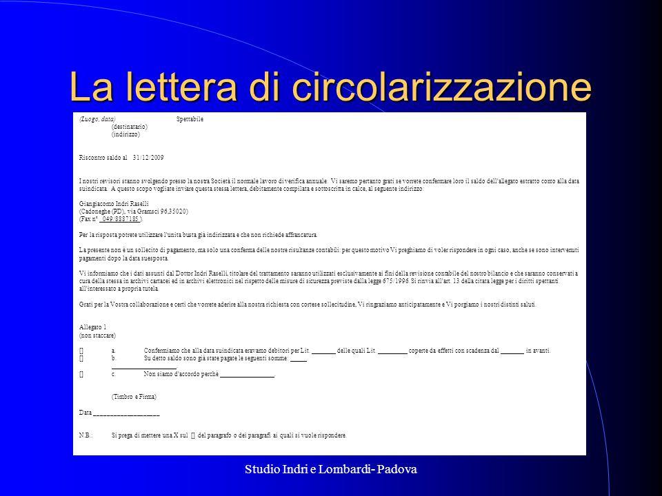 La lettera di circolarizzazione