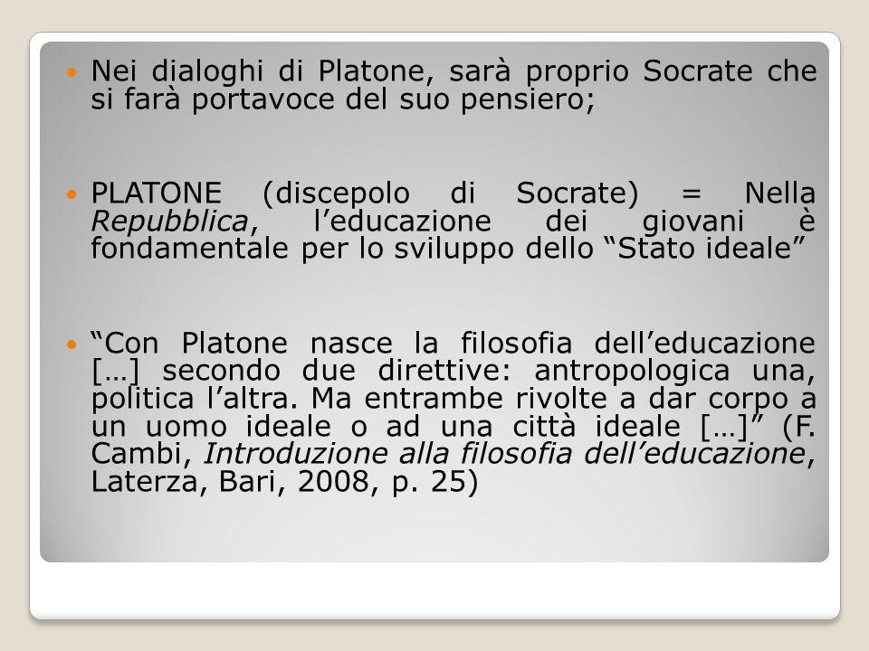 Nei dialoghi di Platone, sarà proprio Socrate che si farà portavoce del suo pensiero;