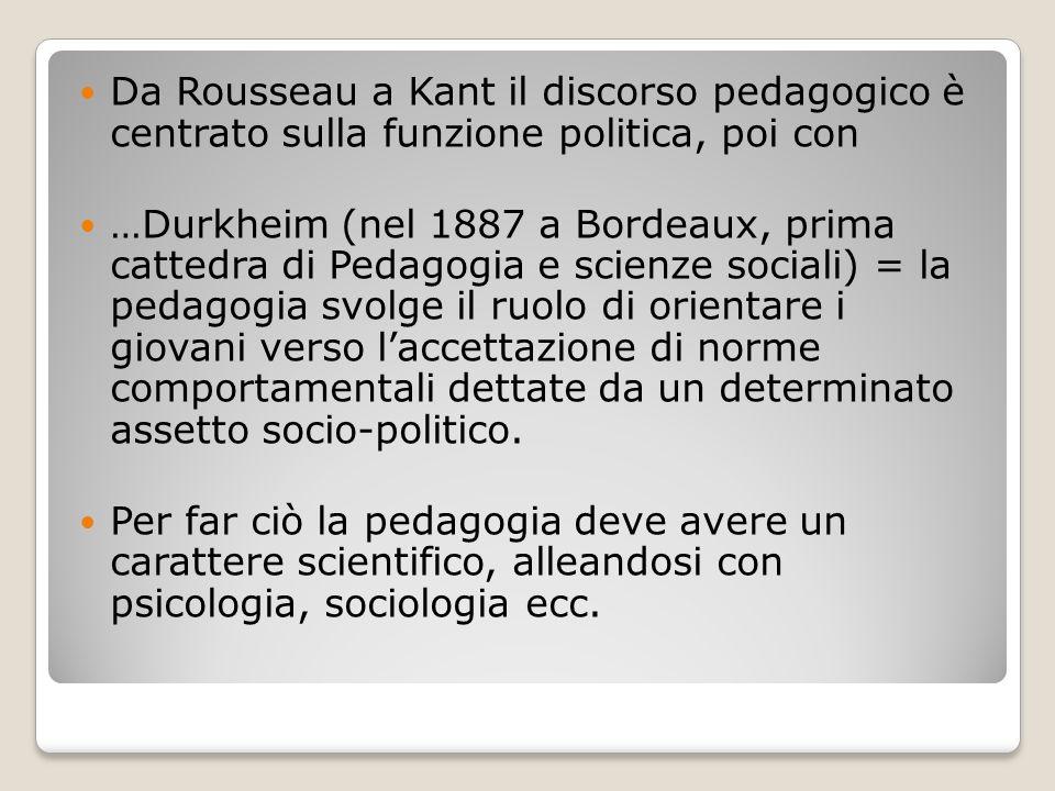 Da Rousseau a Kant il discorso pedagogico è centrato sulla funzione politica, poi con