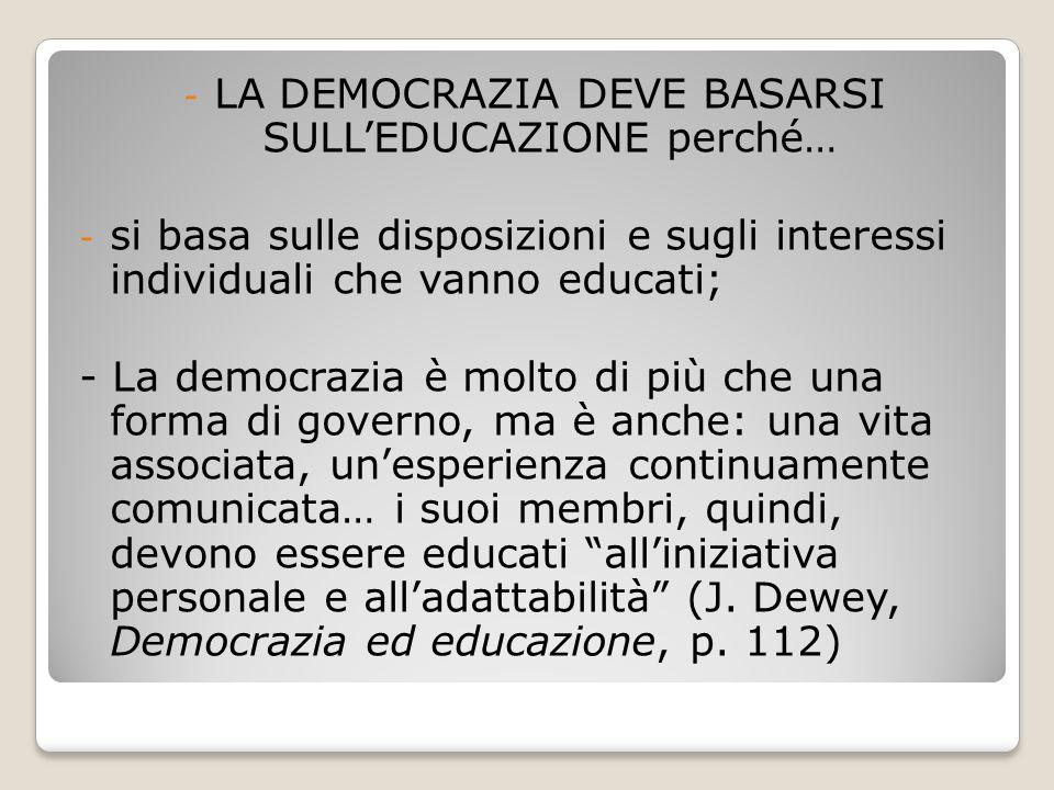 LA DEMOCRAZIA DEVE BASARSI SULL'EDUCAZIONE perché…