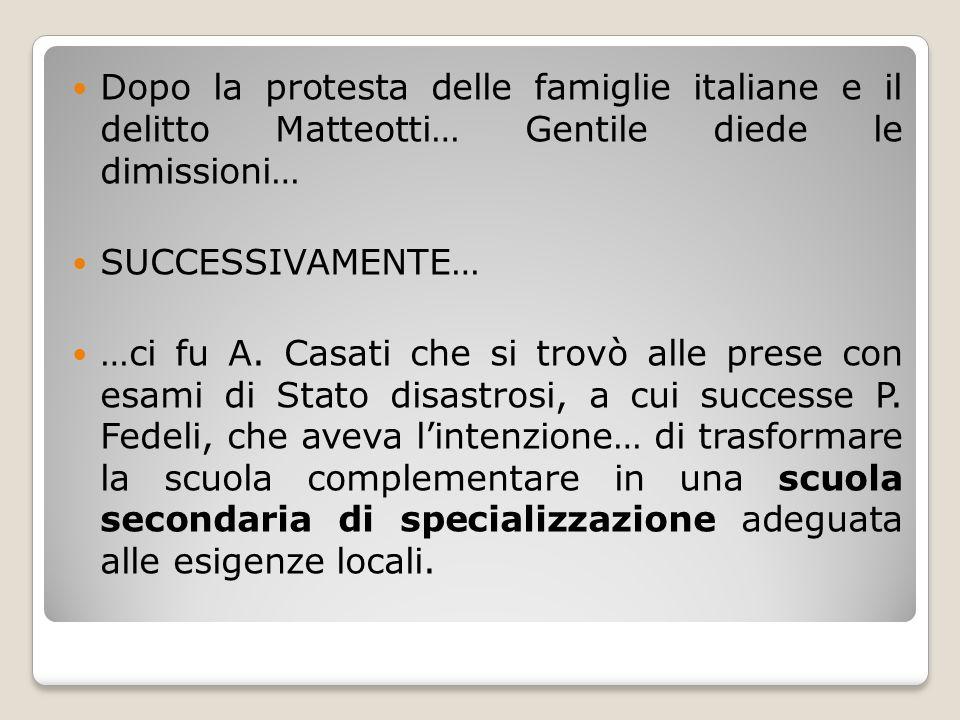 Dopo la protesta delle famiglie italiane e il delitto Matteotti… Gentile diede le dimissioni…