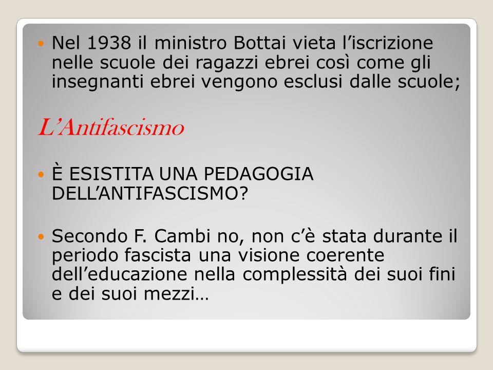 Nel 1938 il ministro Bottai vieta l'iscrizione nelle scuole dei ragazzi ebrei così come gli insegnanti ebrei vengono esclusi dalle scuole;