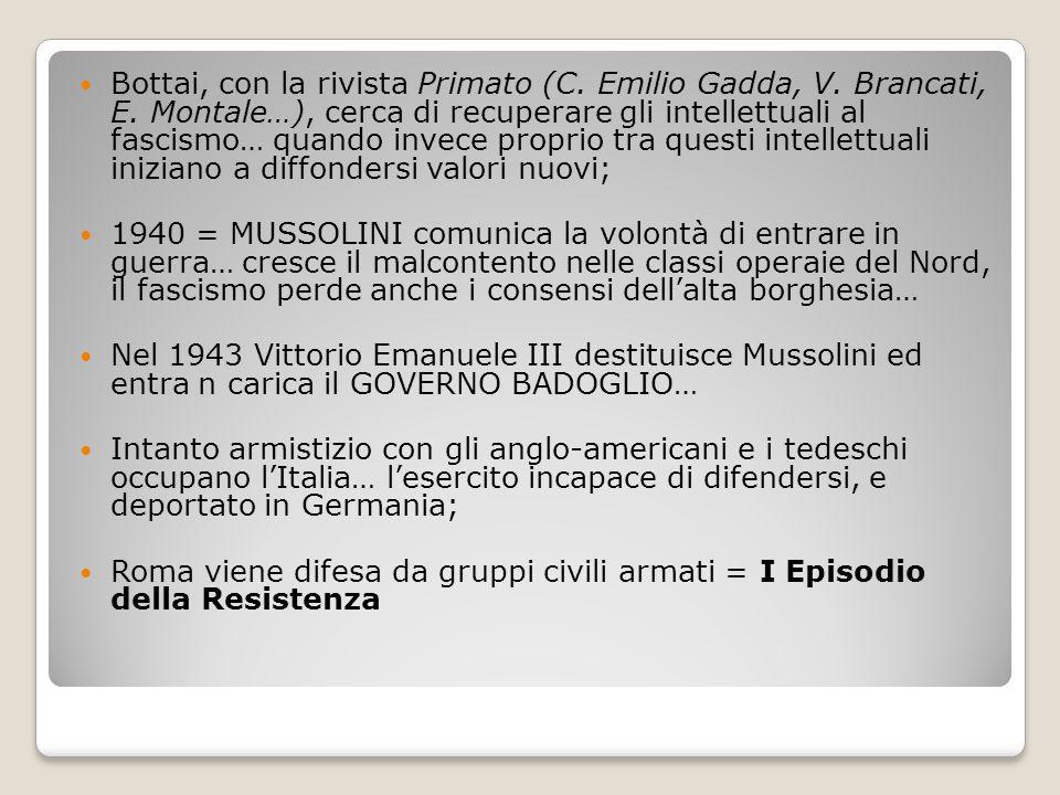 Bottai, con la rivista Primato (C. Emilio Gadda, V. Brancati, E