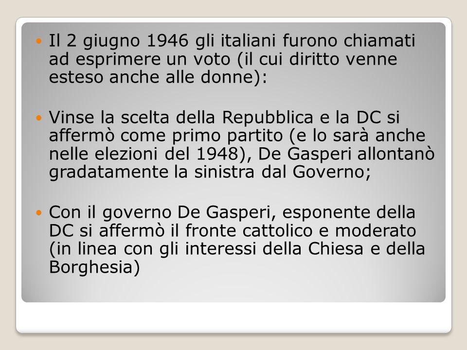 Il 2 giugno 1946 gli italiani furono chiamati ad esprimere un voto (il cui diritto venne esteso anche alle donne):