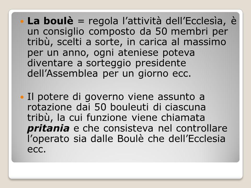 La boulè = regola l'attività dell'Ecclesìa, è un consiglio composto da 50 membri per tribù, scelti a sorte, in carica al massimo per un anno, ogni ateniese poteva diventare a sorteggio presidente dell'Assemblea per un giorno ecc.