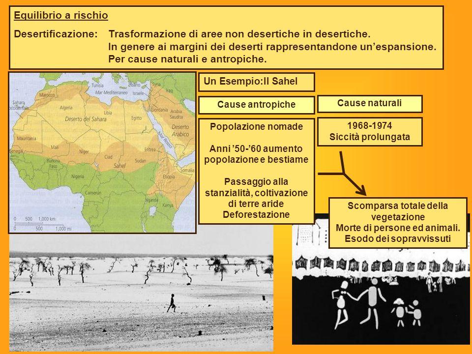 Desertificazione: Trasformazione di aree non desertiche in desertiche.