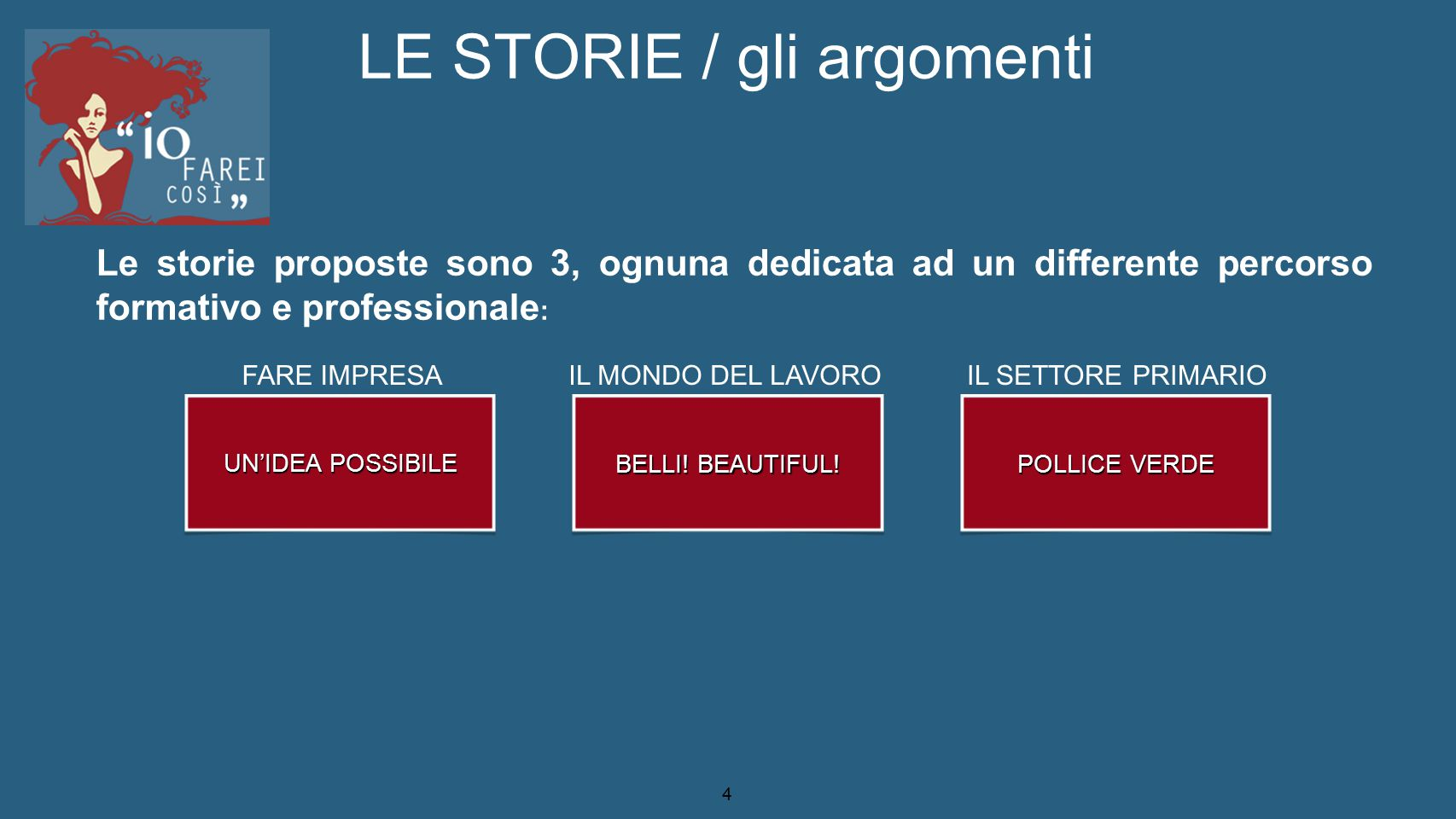 LE STORIE / gli argomenti