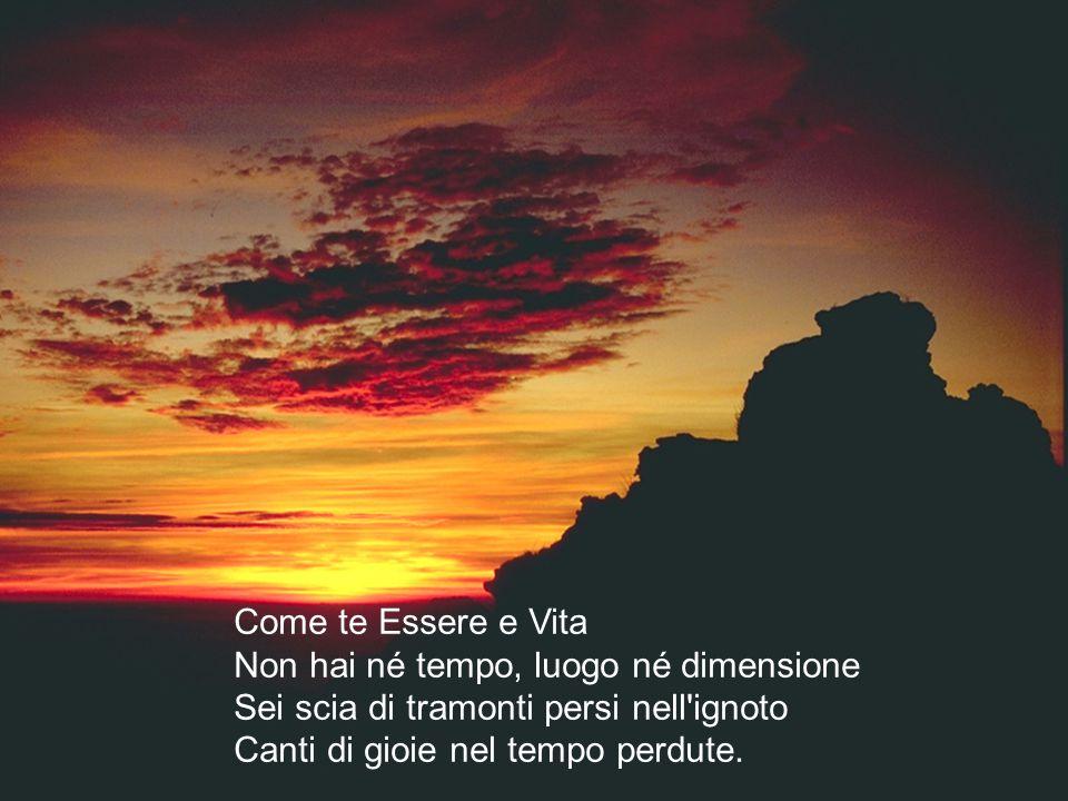 Come te Essere e Vita Non hai né tempo, luogo né dimensione Sei scia di tramonti persi nell ignoto Canti di gioie nel tempo perdute.