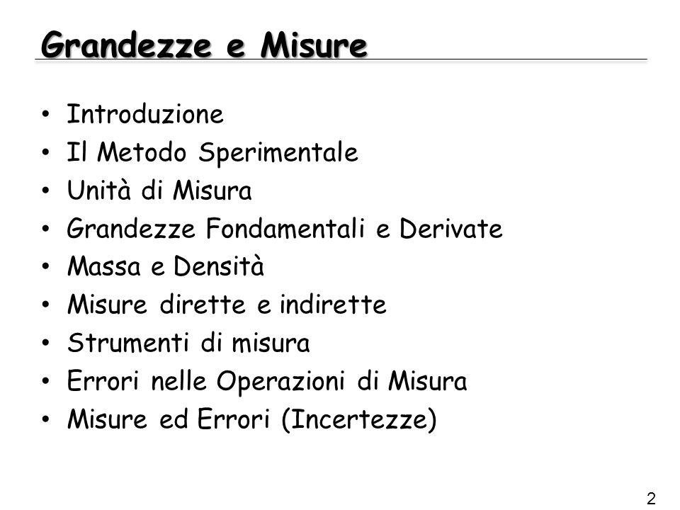 Grandezze e Misure Introduzione Il Metodo Sperimentale Unità di Misura