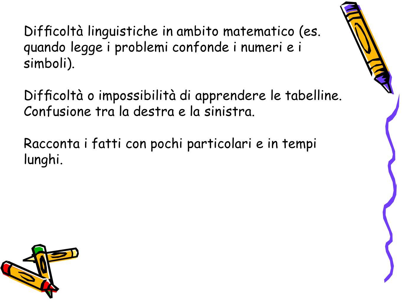 Difficoltà linguistiche in ambito matematico (es