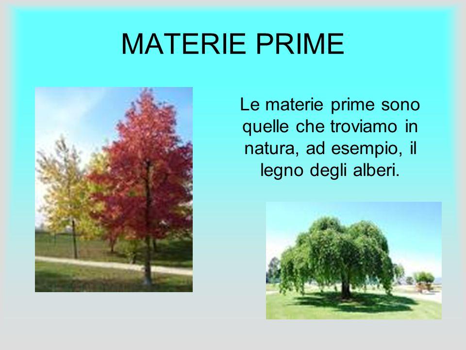 MATERIE PRIME Le materie prime sono quelle che troviamo in natura, ad esempio, il legno degli alberi.