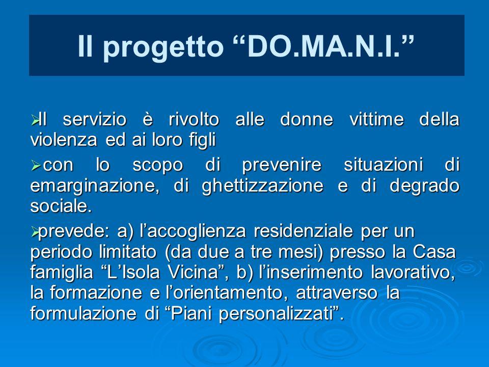 Il progetto DO.MA.N.I. Il servizio è rivolto alle donne vittime della violenza ed ai loro figli.