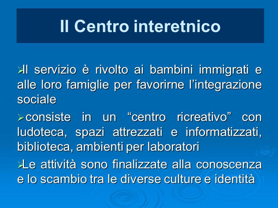 Il Centro interetnico Il servizio è rivolto ai bambini immigrati e alle loro famiglie per favorirne l'integrazione sociale.