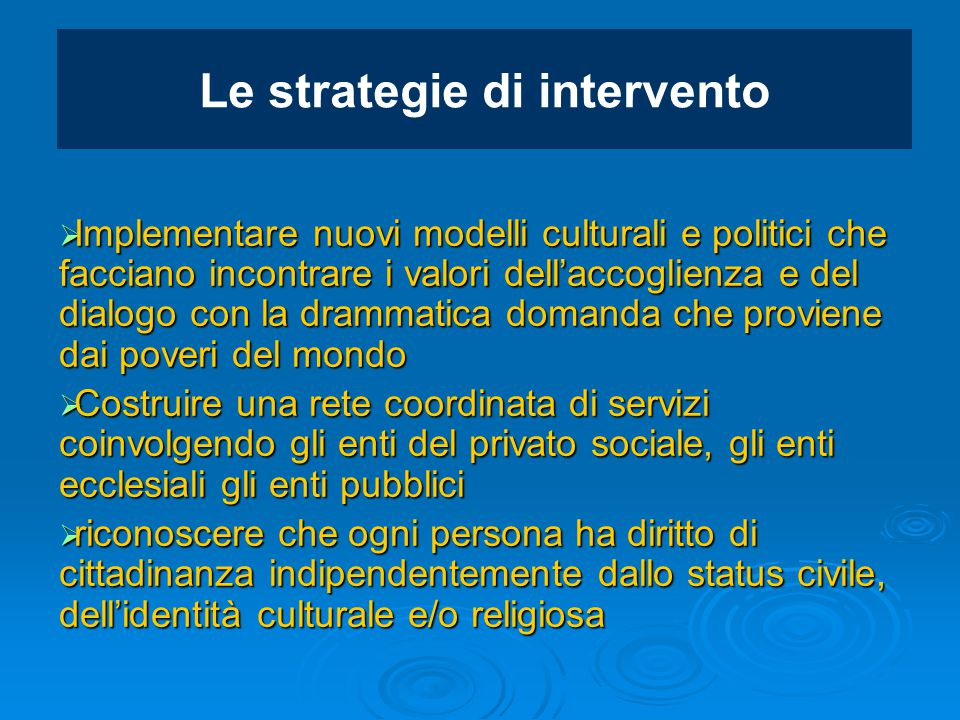 Le strategie di intervento
