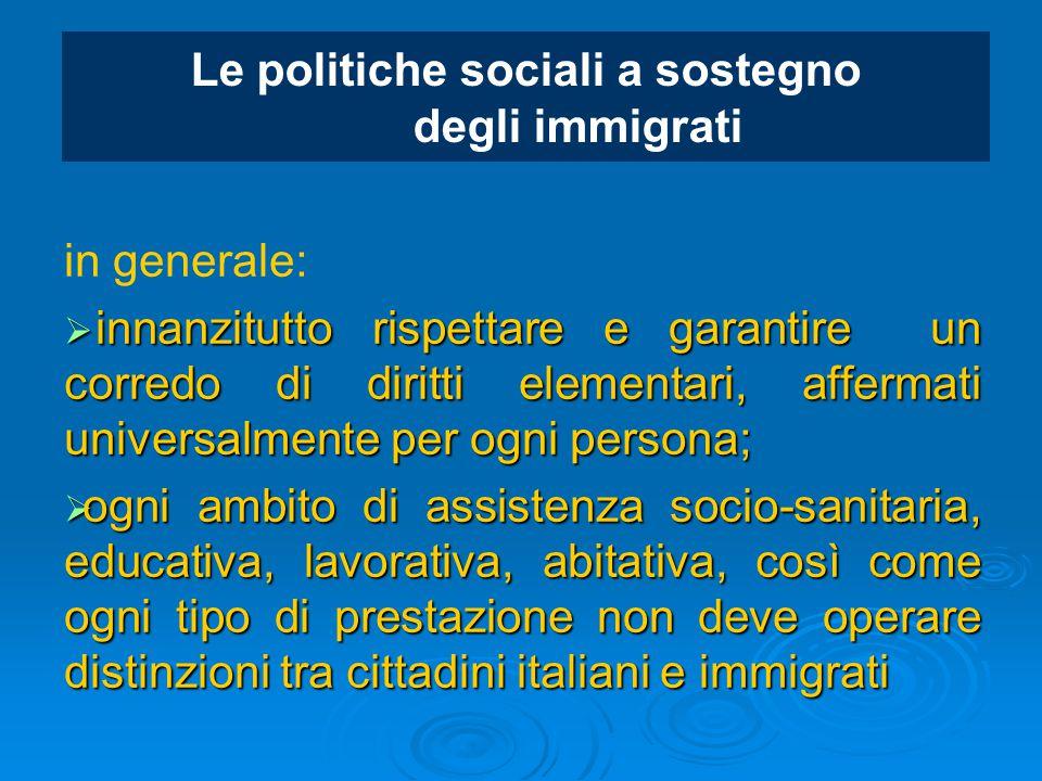 Le politiche sociali a sostegno degli immigrati