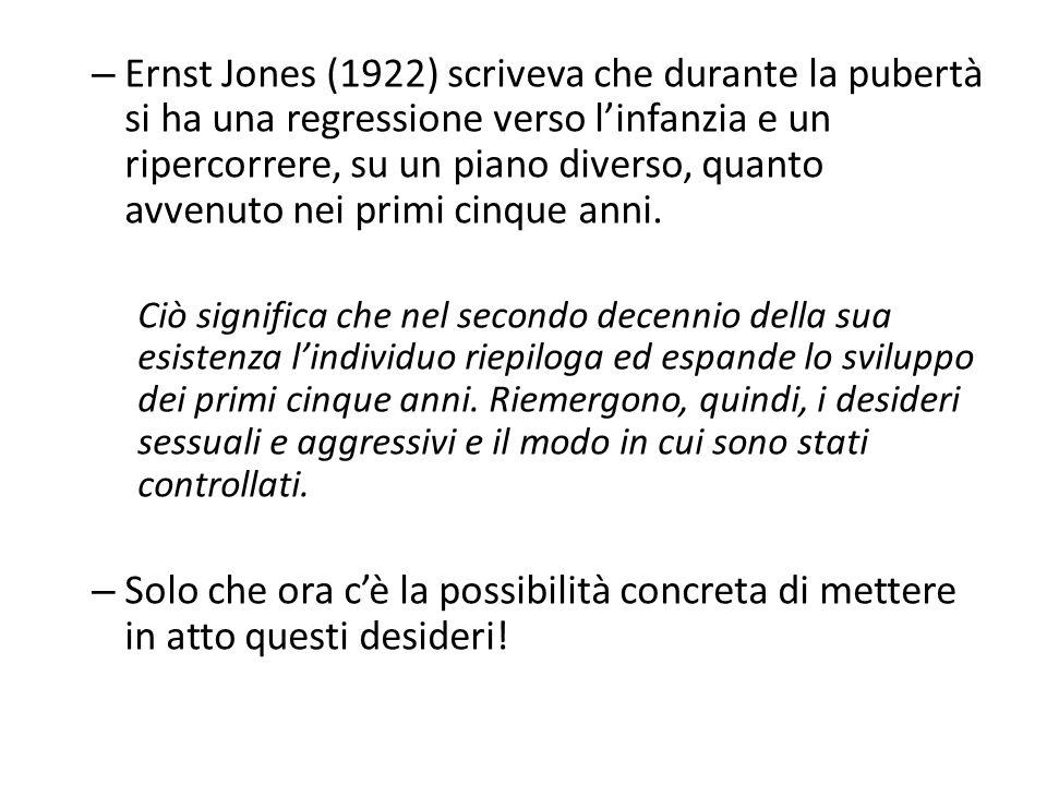 Ernst Jones (1922) scriveva che durante la pubertà si ha una regressione verso l'infanzia e un ripercorrere, su un piano diverso, quanto avvenuto nei primi cinque anni.