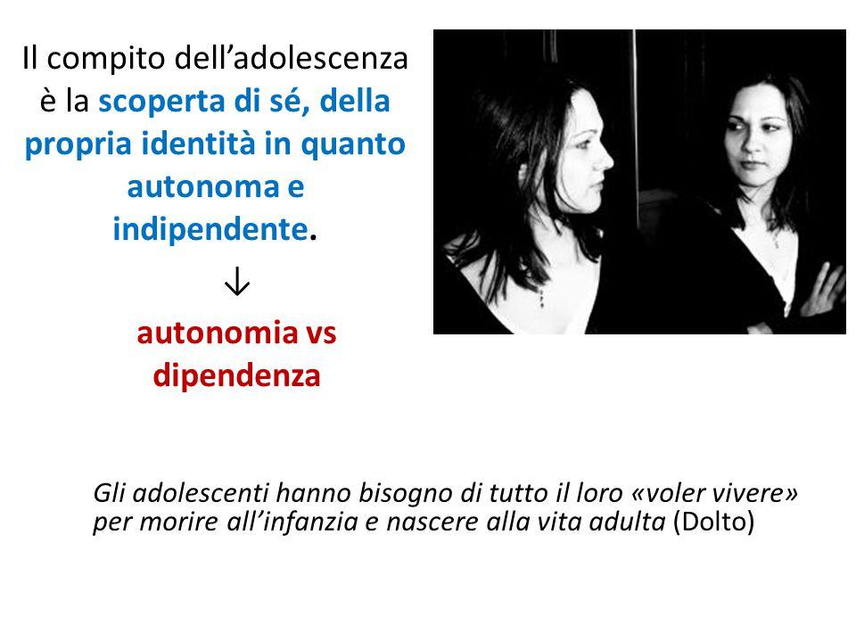 Il compito dell'adolescenza è la scoperta di sé, della propria identità in quanto autonoma e indipendente. ↓ autonomia vs dipendenza