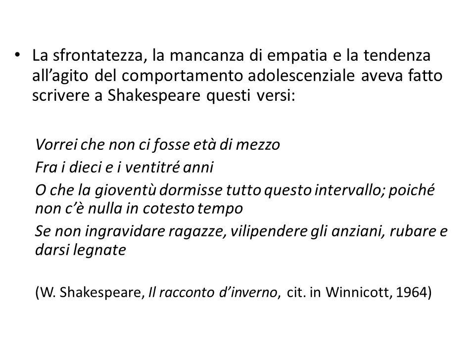 La sfrontatezza, la mancanza di empatia e la tendenza all'agito del comportamento adolescenziale aveva fatto scrivere a Shakespeare questi versi: