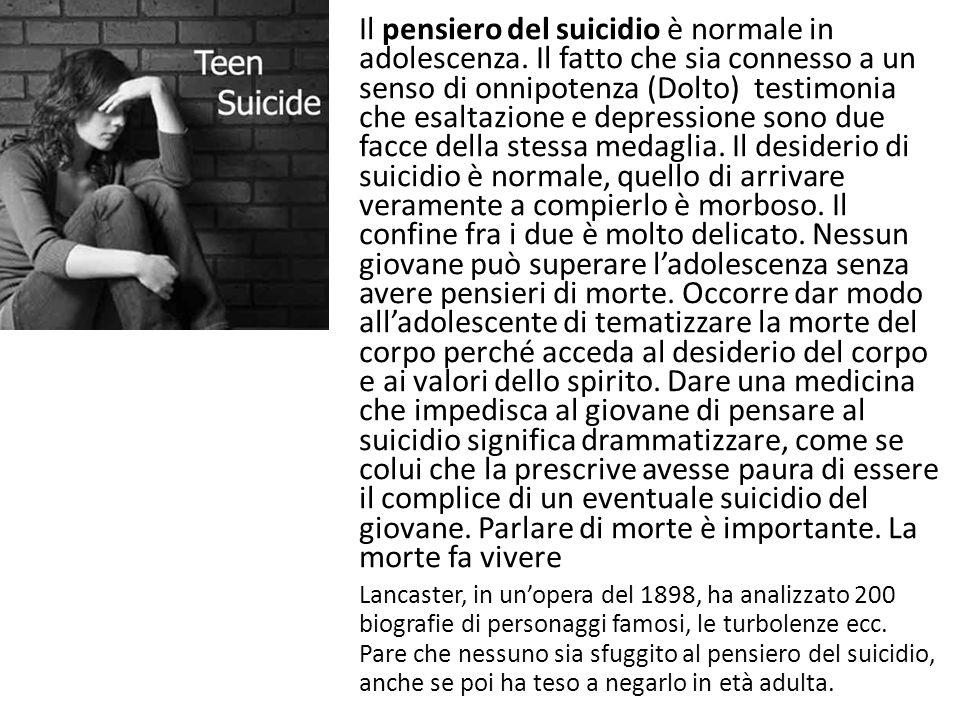 Il pensiero del suicidio è normale in adolescenza