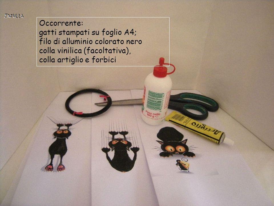 Occorrente: gatti stampati su foglio A4; filo di alluminio colorato nero. colla vinilica (facoltativa),