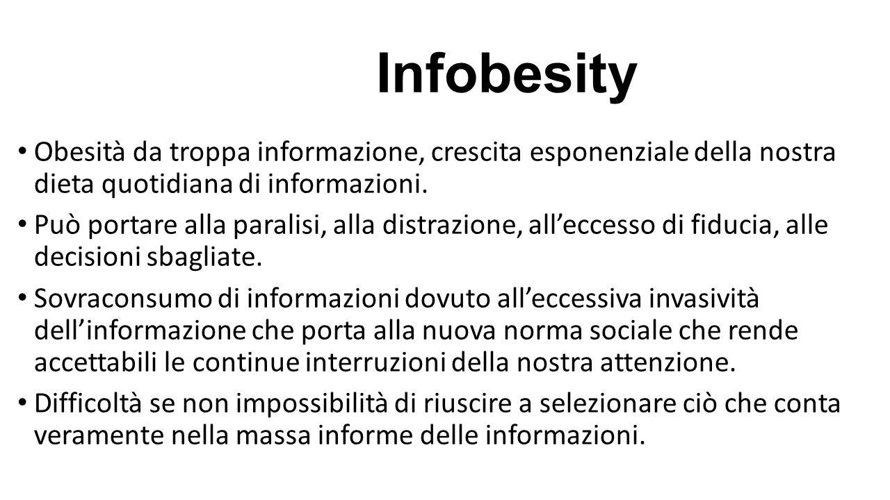 Infobesity Obesità da troppa informazione, crescita esponenziale della nostra dieta quotidiana di informazioni.
