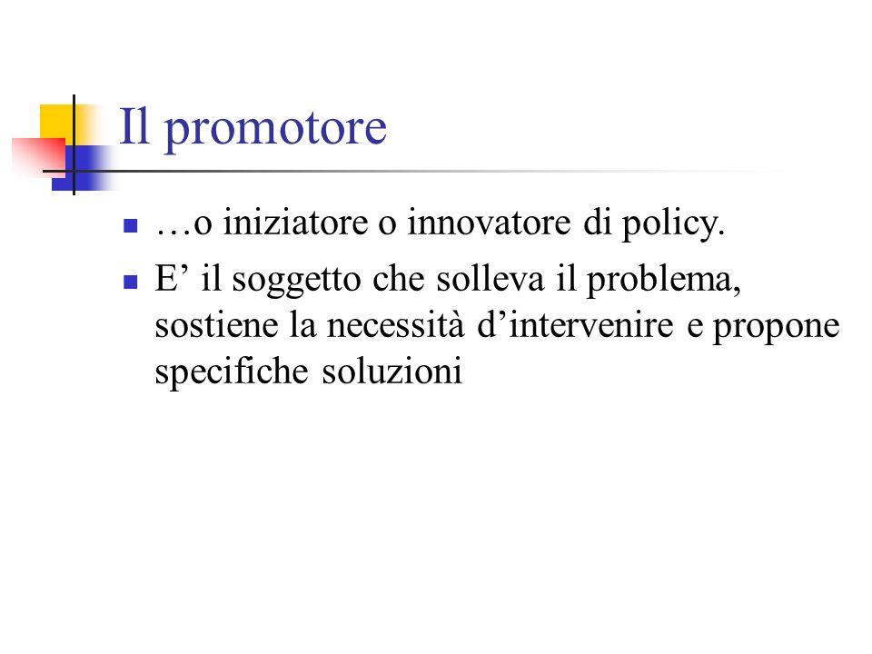 Il promotore …o iniziatore o innovatore di policy.