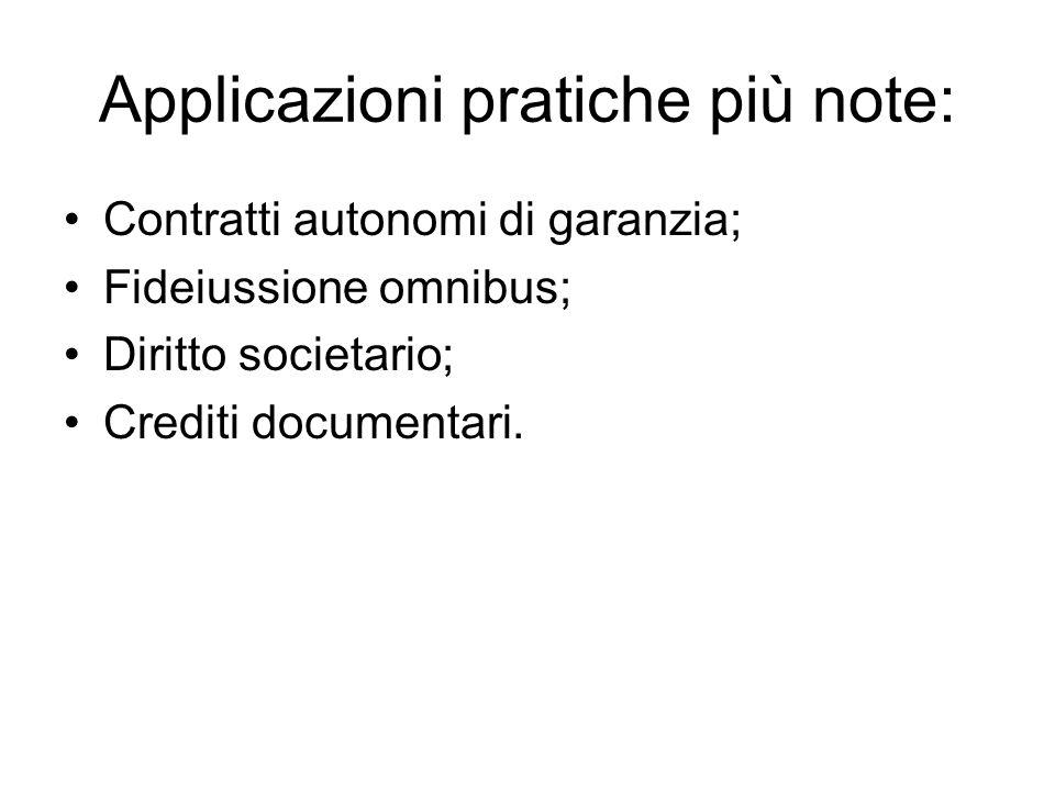 Applicazioni pratiche più note: