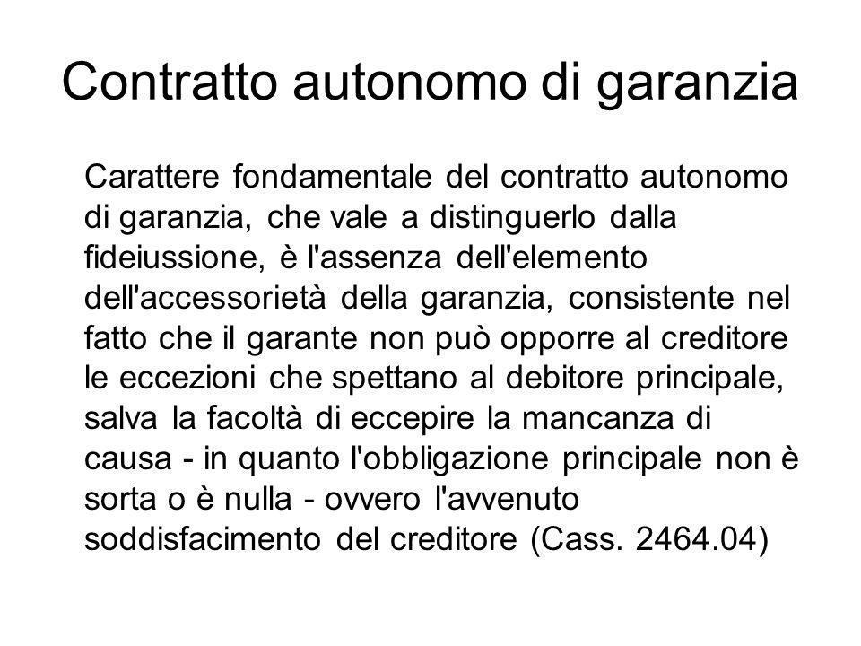 Contratto autonomo di garanzia