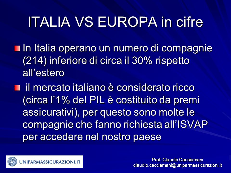 ITALIA VS EUROPA in cifre
