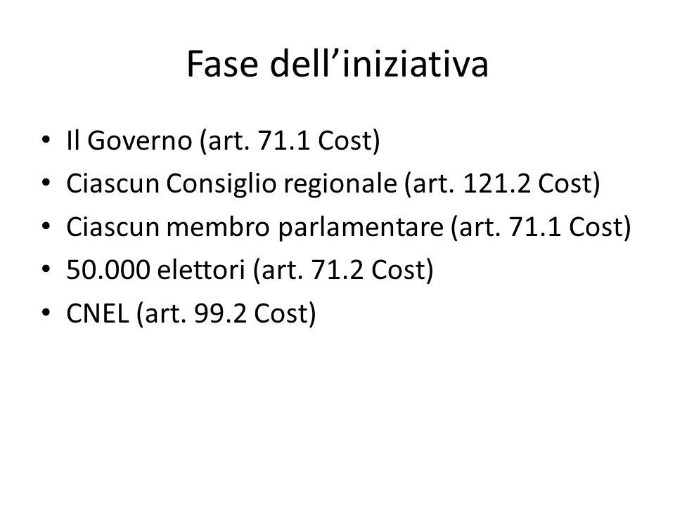 Fase dell'iniziativa Il Governo (art. 71.1 Cost)