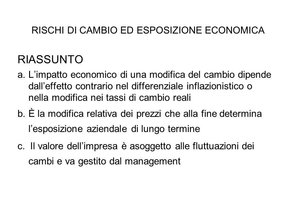 RISCHI DI CAMBIO ED ESPOSIZIONE ECONOMICA