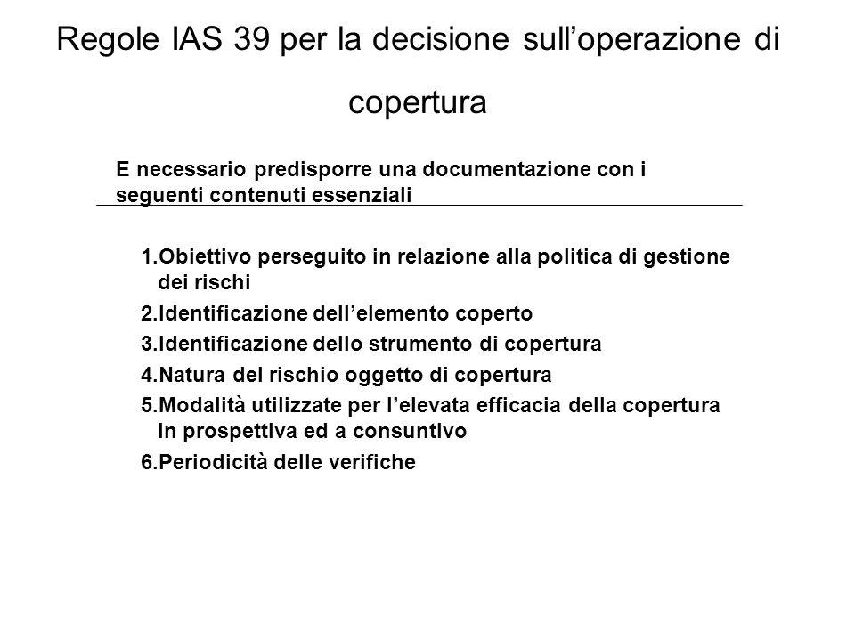 Regole IAS 39 per la decisione sull'operazione di copertura
