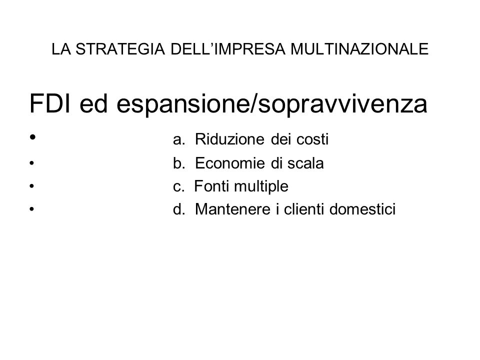 LA STRATEGIA DELL'IMPRESA MULTINAZIONALE