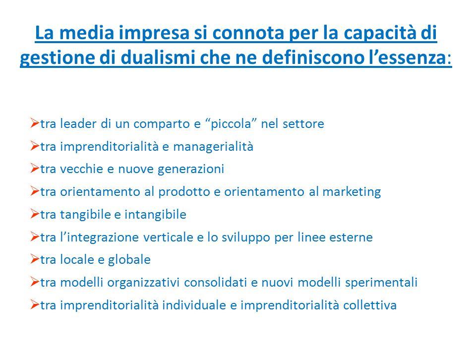 La media impresa si connota per la capacità di gestione di dualismi che ne definiscono l'essenza: