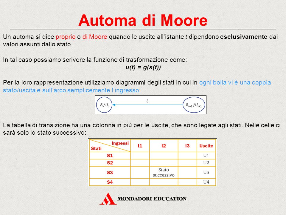 Automa di Moore Un automa si dice proprio o di Moore quando le uscite all'istante t dipendono esclusivamente dai valori assunti dallo stato.
