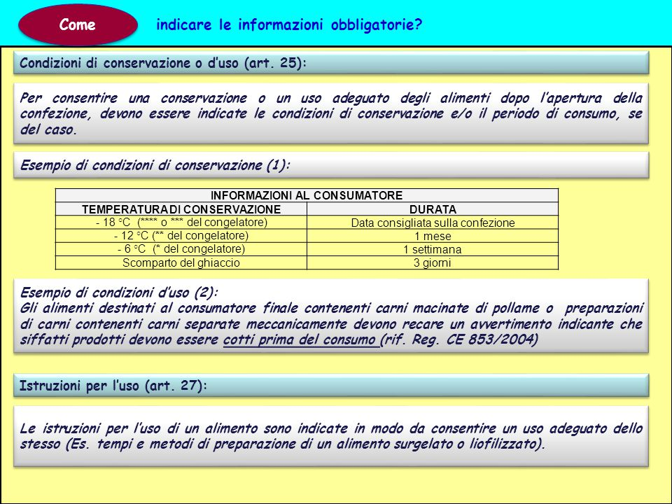 INFORMAZIONI AL CONSUMATORE TEMPERATURA DI CONSERVAZIONE