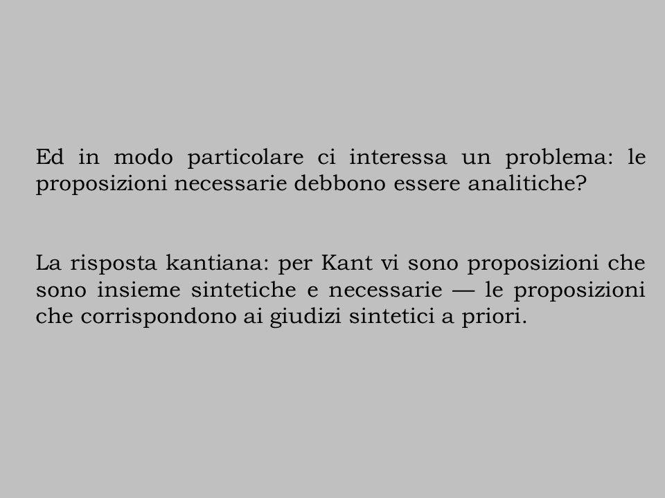 Ed in modo particolare ci interessa un problema: le proposizioni necessarie debbono essere analitiche