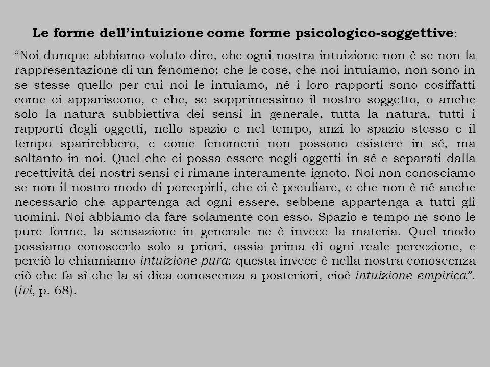 Le forme dell'intuizione come forme psicologico-soggettive: