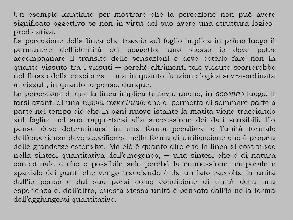 Un esempio kantiano per mostrare che la percezione non può avere significato oggettivo se non in virtù del suo avere una struttura logico-predicativa.