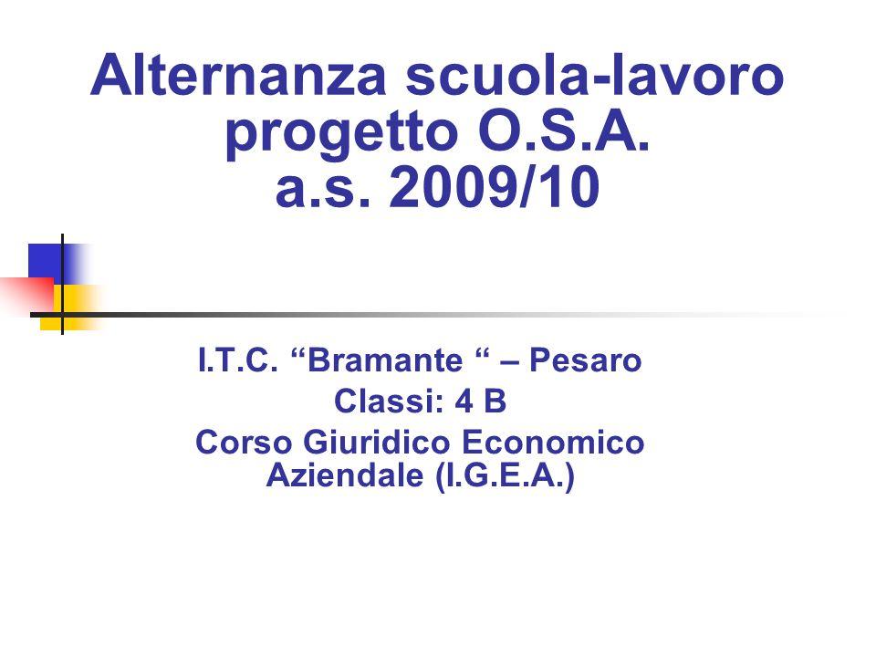 Alternanza scuola-lavoro progetto O.S.A. a.s. 2009/10